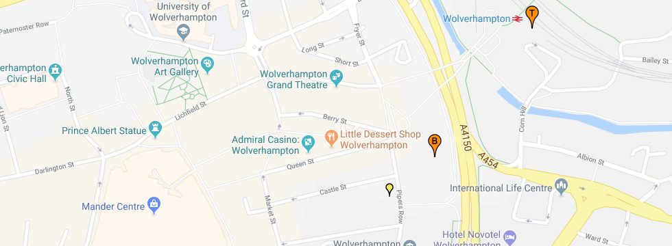 Map showing the Train and Bus Station in Wolverhampton and a small Yellow marker showing where to catch the No1 Bus for the Centre